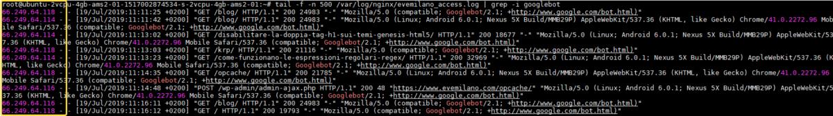 Trovare IP Googlebot