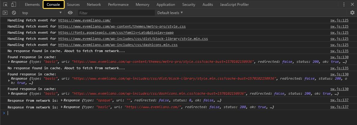 Google Chrome Dev Tools - Console