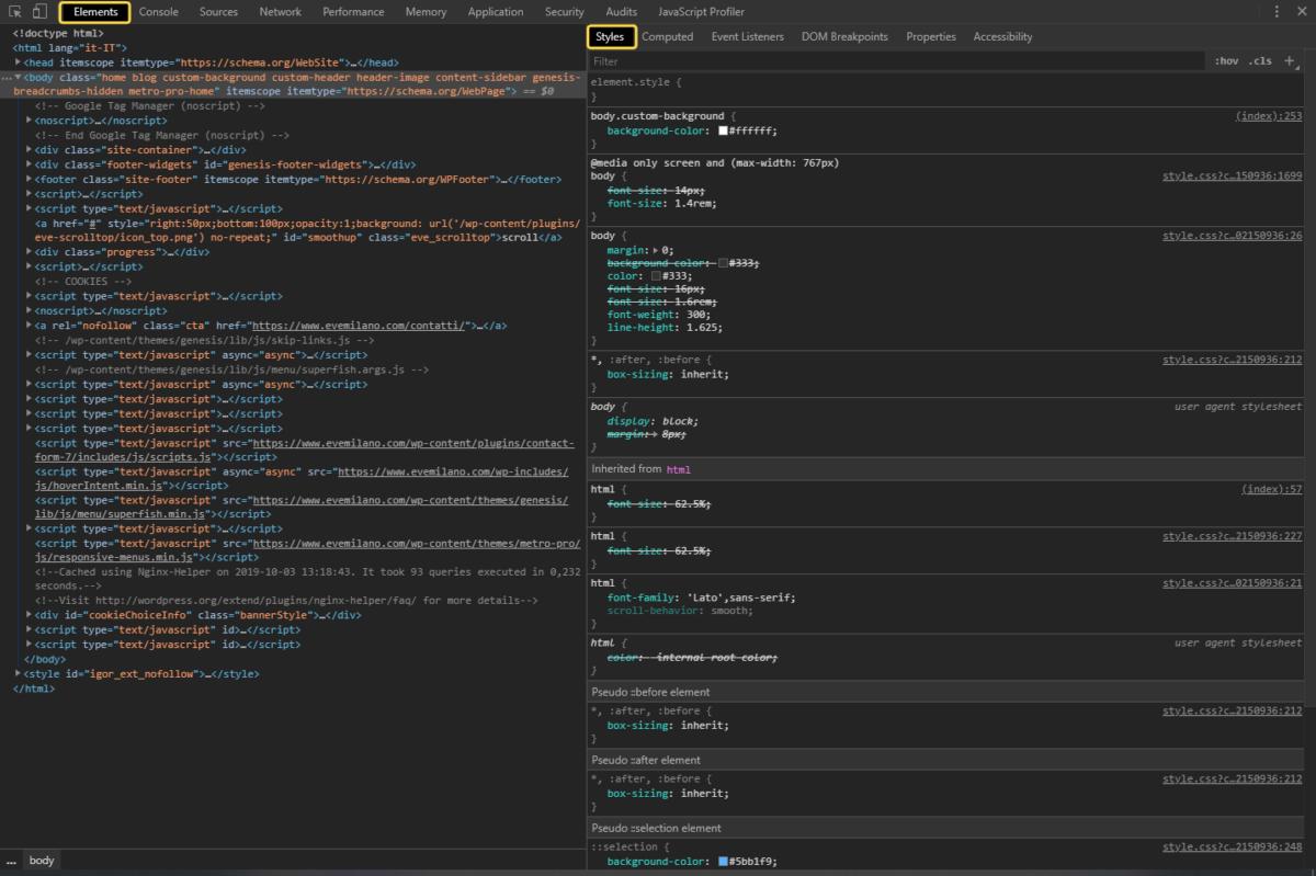 Google Chrome Dev Tools - Elements