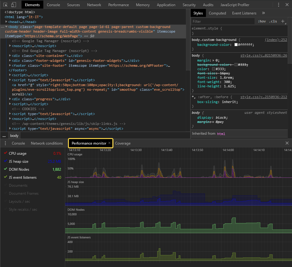 Google Chrome Dev Tools - Performance monitor