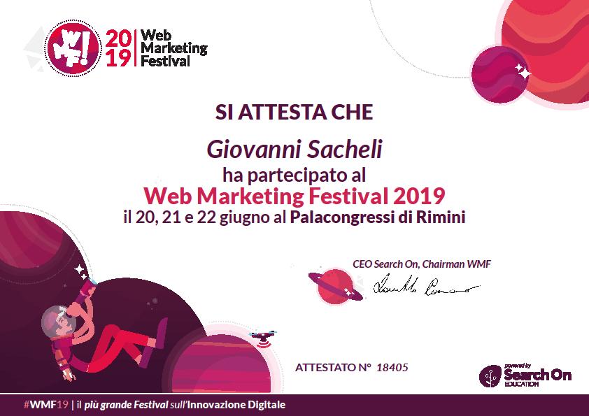Attestato Web Marketing Festival 2019