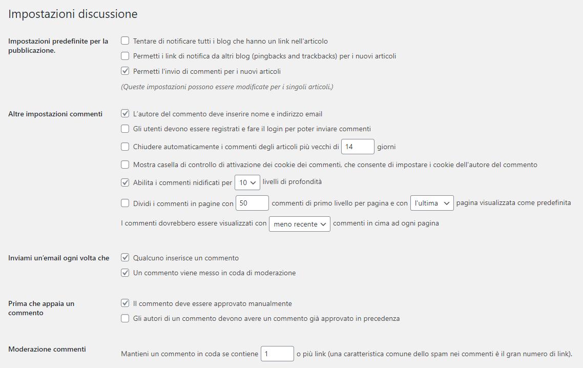 Impostazioni discussione - Gestire le opzioni dei commenti in WordPress