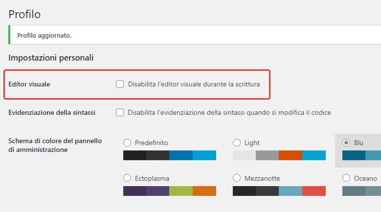 Disabilita l'editor visuale durante la scrittura
