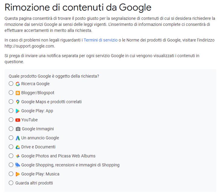 Rimozione legale contenuti da Google