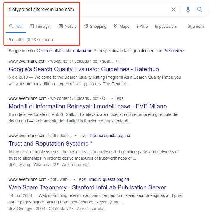 Come trovare i PDF indicizzati