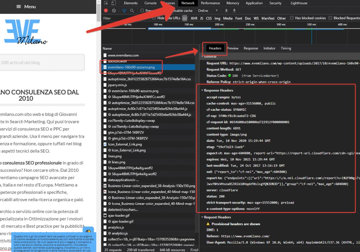 Come vedere le intestazioni HTTP in Google Chrome