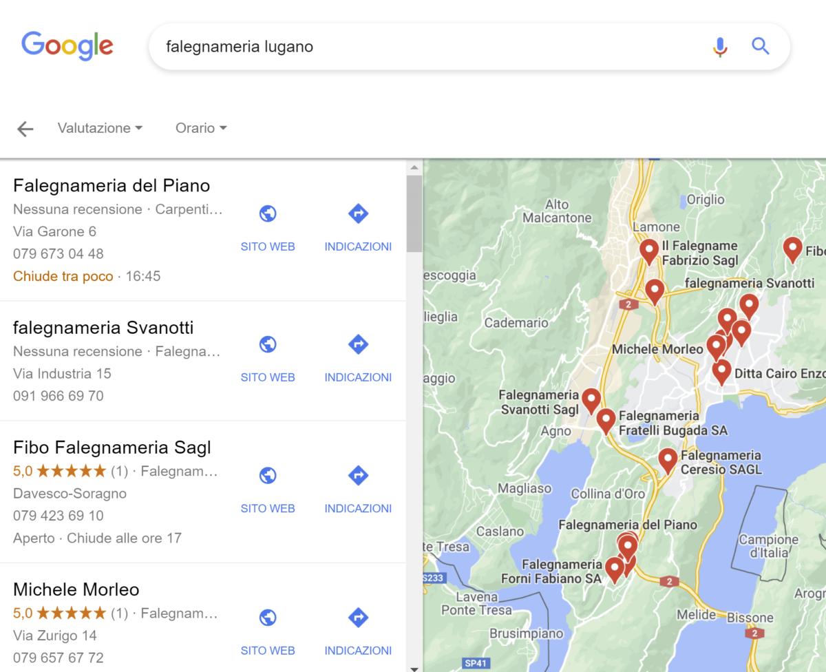 Esempio schede attività in Google Maps
