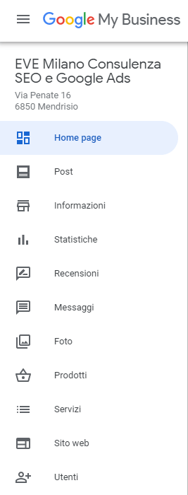 Il menu di Google My Business