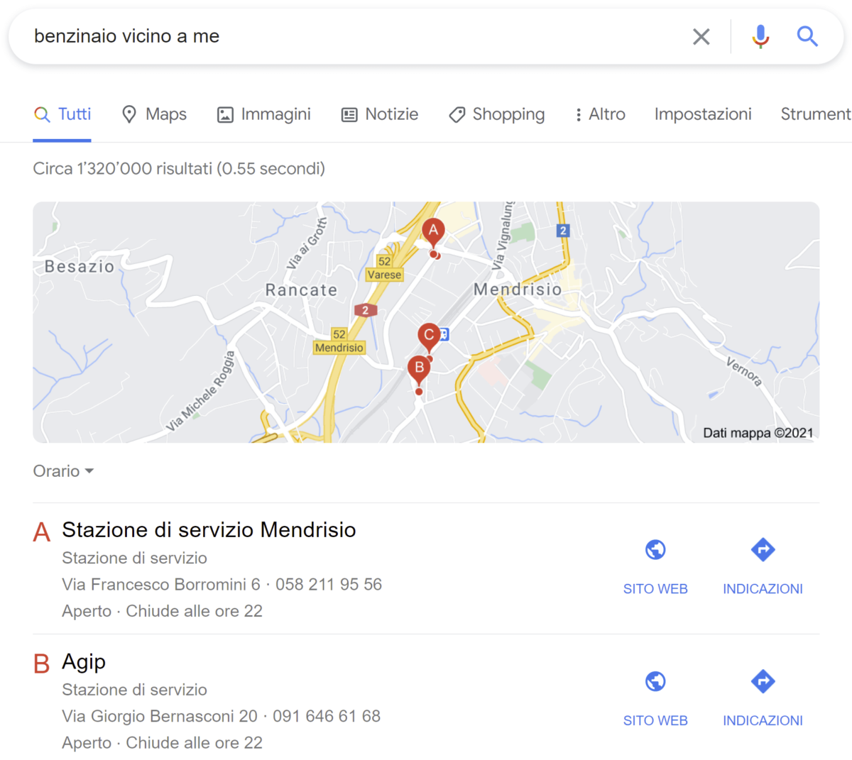 Google mostra le mappe nelle ricerche local