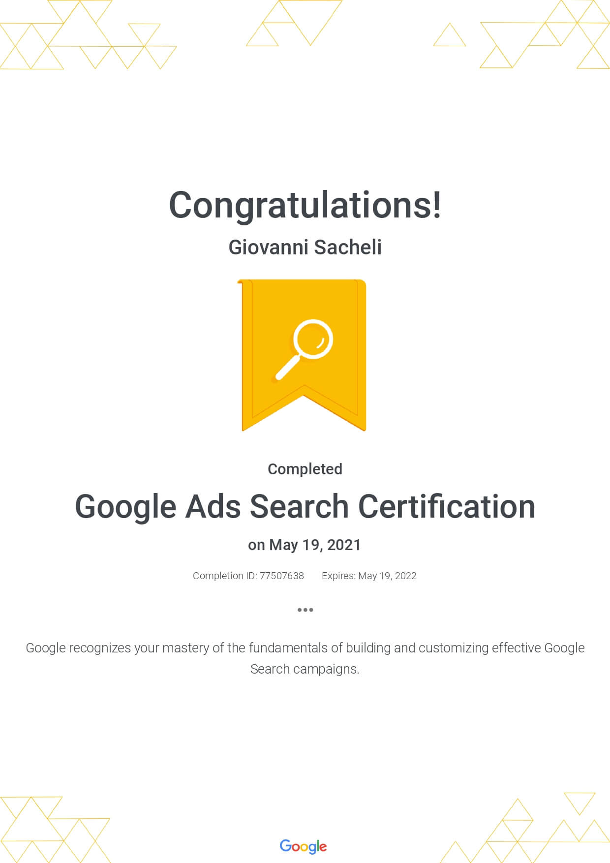 Google Ads Search Certification 2021