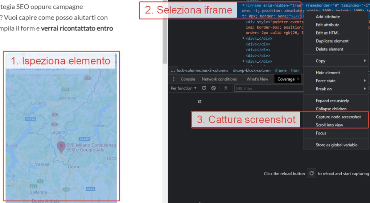 Come eseguire lo screenshot di un iframe