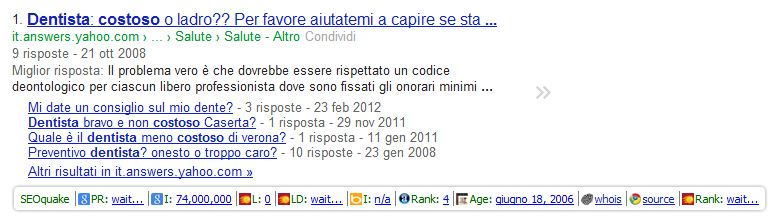 Estensioni Chrome: SEOquake