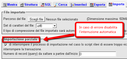 Importare database MySQL WordPress